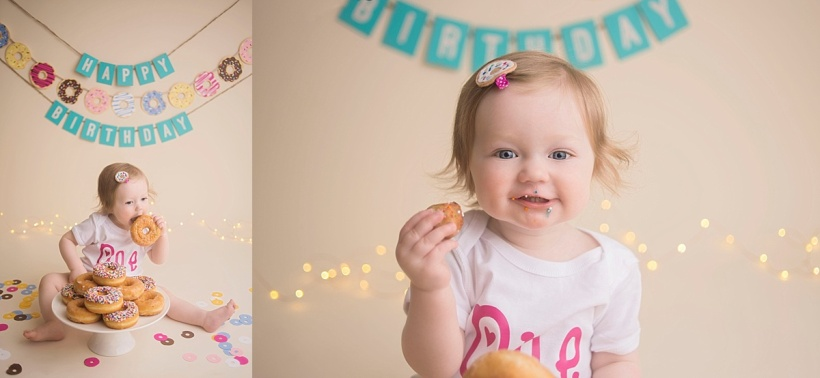 Fort McMurray professional photographer, Fort McMurray cake smash photographer, first birthday photos, cake smash sessions, donut smash