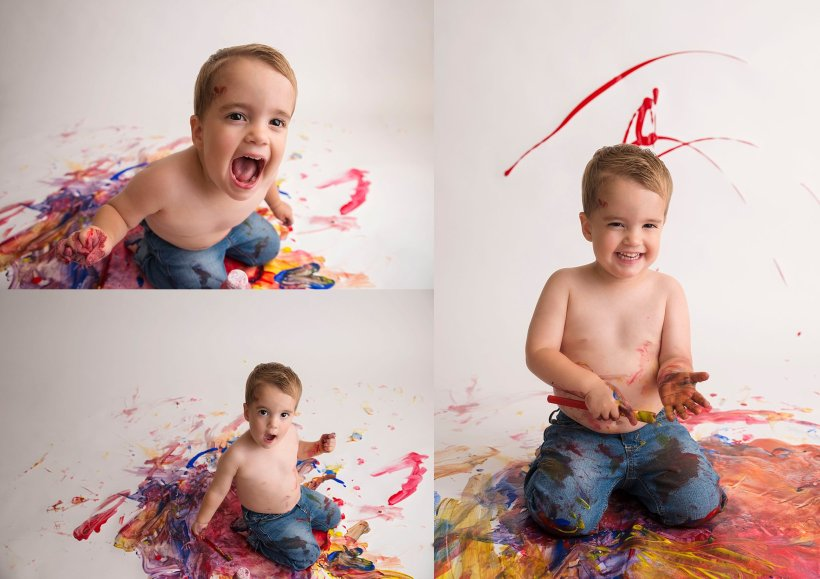 Fort McMurray child photographer, paint smash, 2 year old birthday, Fort McMurray baby photographer, Fort McMurray photographer