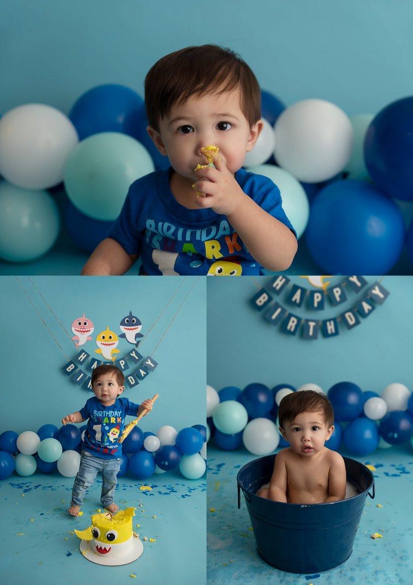 Amie Roberts Photography, Fort McMurray cake smash photoshoot, Fort McMurray cake smash photographer, Baby Shark cake smash, first birthday photoshoot, cake smash session