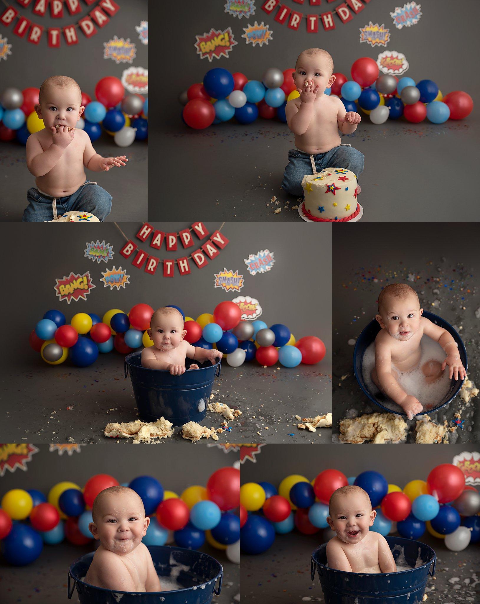 Fort McMurray cake smash photoshoot, Fort McMurray cake smash photographer, Fort McMurray baby photographer, first birthday, Superhero Cake Smash, balloon banner,